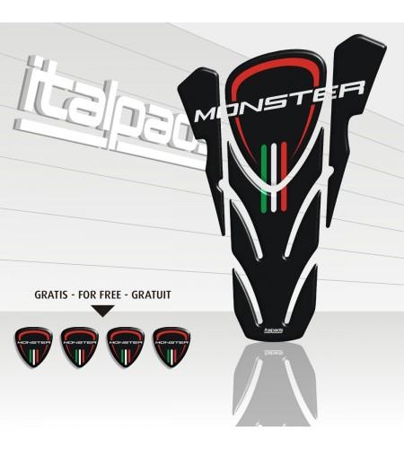 "Protector de depósito para DUCATI Corse monster negro ""top wings"" black TANK PAD + 4 free"