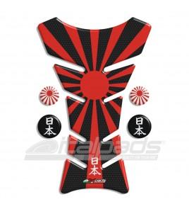 Protector De Depòsito  bandera Japón HoneyComb negro + 4